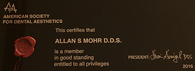 Dr. Mohr's certification of membership in the ASDA