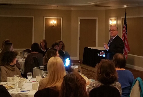 Dr. Mohr speaking at Long Island dental hygiene forum