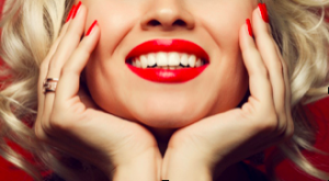 beautiful smile with red lips